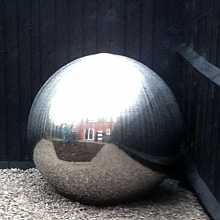 Aterno10 - 1000mm diameter sphere by Aqua Moda Brushed Steel Water Feature