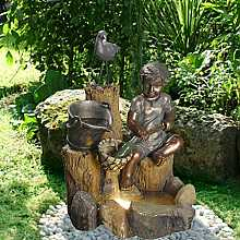 Solar Powered Water Collecting Boy On Rock Water Feature With LED Light