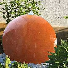 Aterno4 40cm Corten Stainless Steel Sphere Water Feature With Pebble Pool and LED Lights