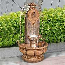 Classic Fountain with Clock Water Feature