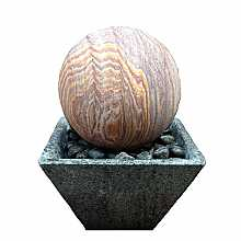 Rainbow Sandstone Sphere Water Feature In Granite Base With LED Lights