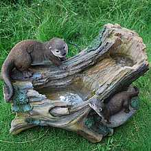 2 Otters on Driftwood Water Feature
