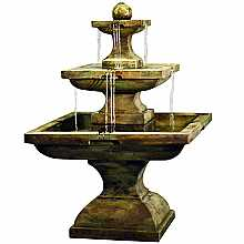 Henri Studios Tall Equinox Fountain in Relic Nebbia Water Feature