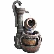 Kelkay Rustic Pump and Pots Easy Fountain Water Feature