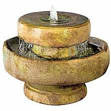 Henri Studios Millstone Fountain With Light in Relic Sargasso Water Feature