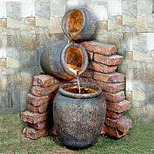 3 Pots on Brick Water Feature