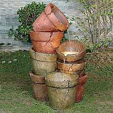 Stacked Coloured Clay Pots Water Feature