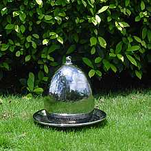 Steel Effect Ceramic Egg Water Feature With LED Lights Small