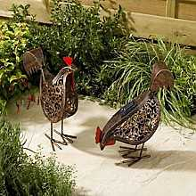 Smart Solar Powered Garden Metal Scroll Hens (twin pack)