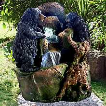 Bear and Cub on Rock Water Feature