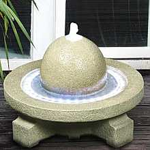 Sandstone Sphere on Circular Base