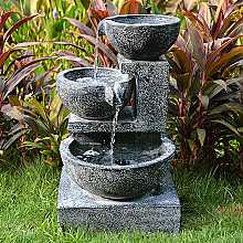 Solar Granite Cascading Bowls Water Feature with LED light