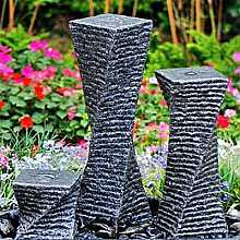 Solar Powered Three Granite Twists Garden Water Feature With LED Light