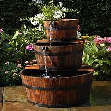 Solar Powered Edinburgh Wooden Barrel Garden Water Feature With LED