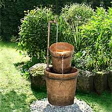 2 Sandstone Buckets with Tap Water Feature