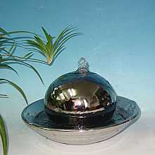 Solar Powered Steel Effect Ceramic Sphere Medium Water Feature