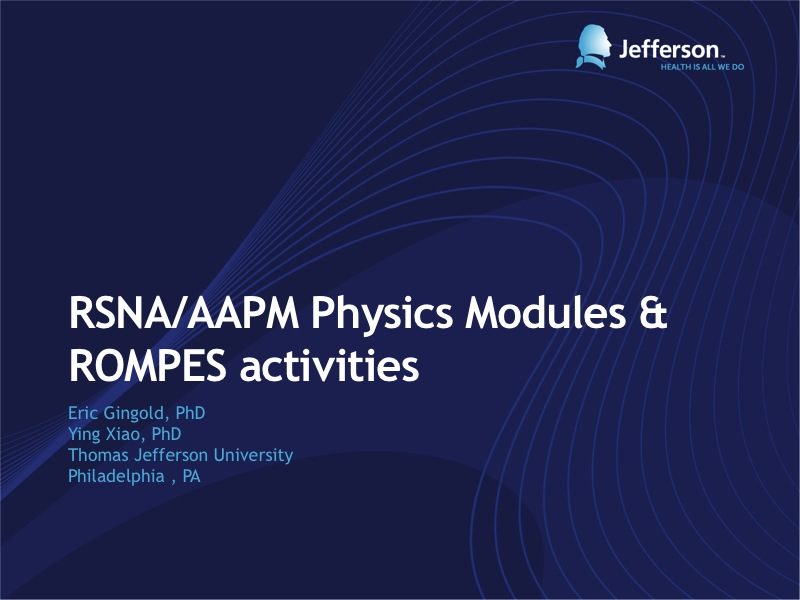 AAPM VL-Education Council Symposium: Online Education in Medical Physics - 웹