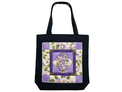Purple Green and Black Floral Center Diamond Bag
