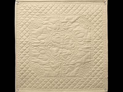 Tan All Quilted Grape Leaves Mini Quilt