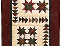 Burgundy Navy and Wheat Miniature Flying Geese Quilt