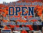 AU Bookstore Open for Samford Game