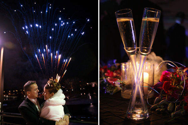 New Year's midnight fireworks and champagne at a wedding