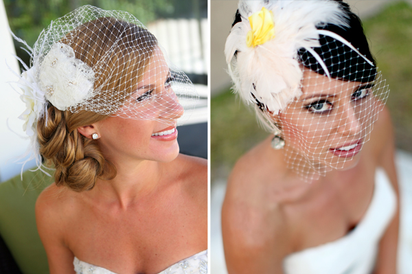 brides wearing birdcage bridal headpieces in wedding photos
