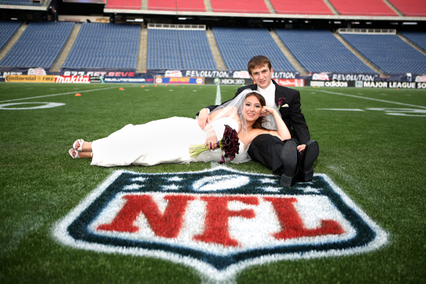 NFL Gillette Stadium football wedding photo