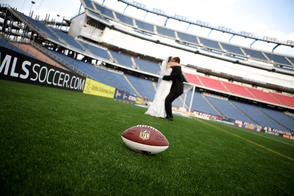 wedding photography in New England Patriots Gillette Stadium