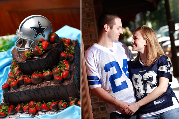 Dallas Cowboys football wedding cake and engagement photos