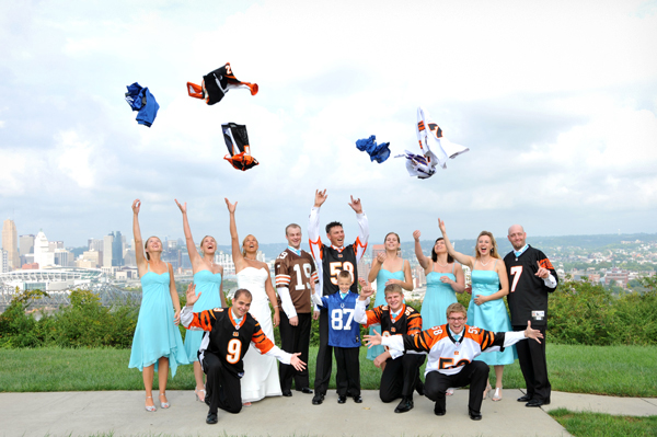 ohio wedding party with football jerseys photo