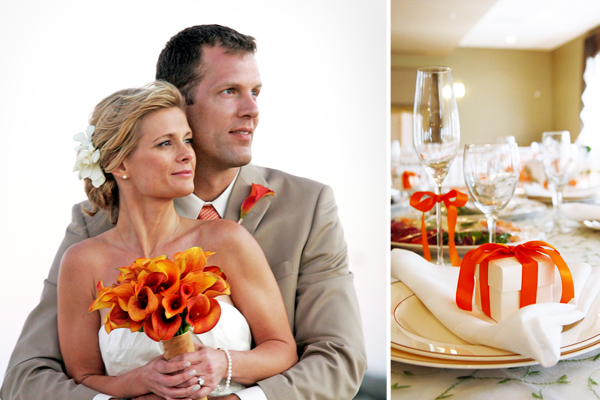 orange wedding color theme