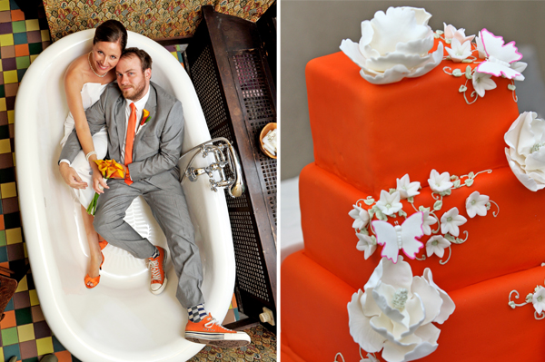 bright orange wedding colors and cake