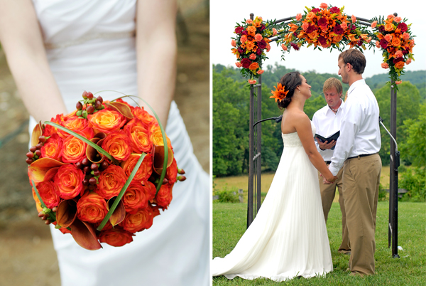 tangerine tango wedding bouquets and flowers