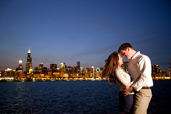engagement image with Chicago nighttime skyline