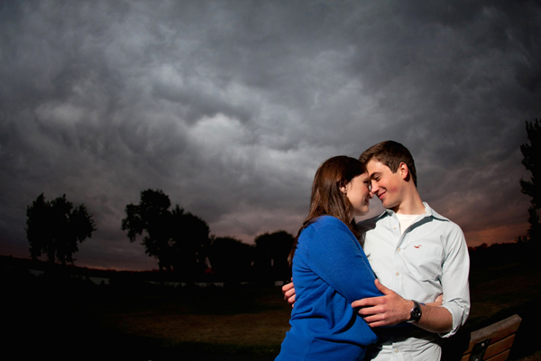 cloudy sunset engagement picture