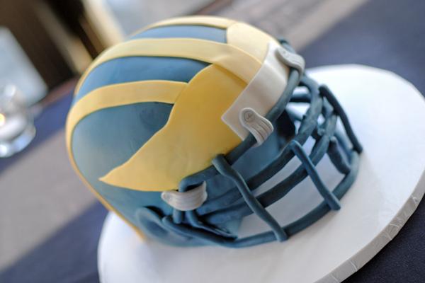 sports helmet grooms cake