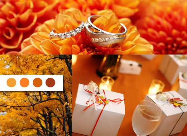 orange wedding inspiration board