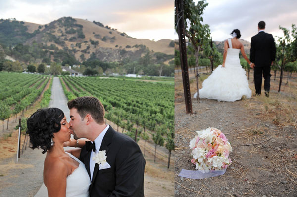 just married couple kissing in vineyard