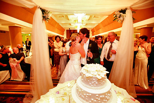 The Claremont Hotel Club and Spa bride and groom cake cutting