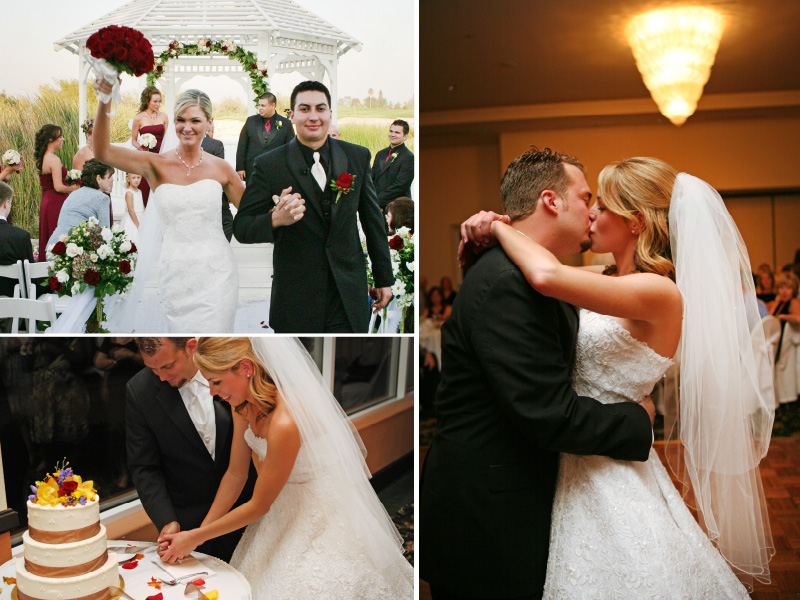 westridge golf club wedding, couple cutting cake, and couple dancing