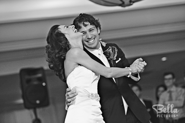 black and white first dance wedding picture
