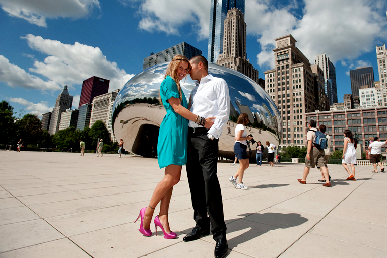 Millenium Park Cloud Gate Chicago Illinois engagement photography 3