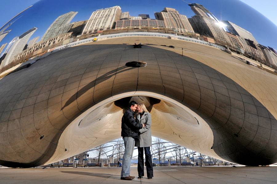 Millenium Park Cloud Gate Chicago Illinois engagement photography 1