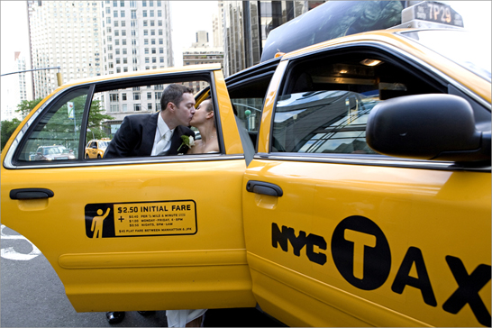 bride groom kiss taxi nyc