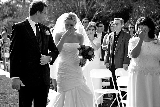 Father and Bride walking down the aisle Riverside, California