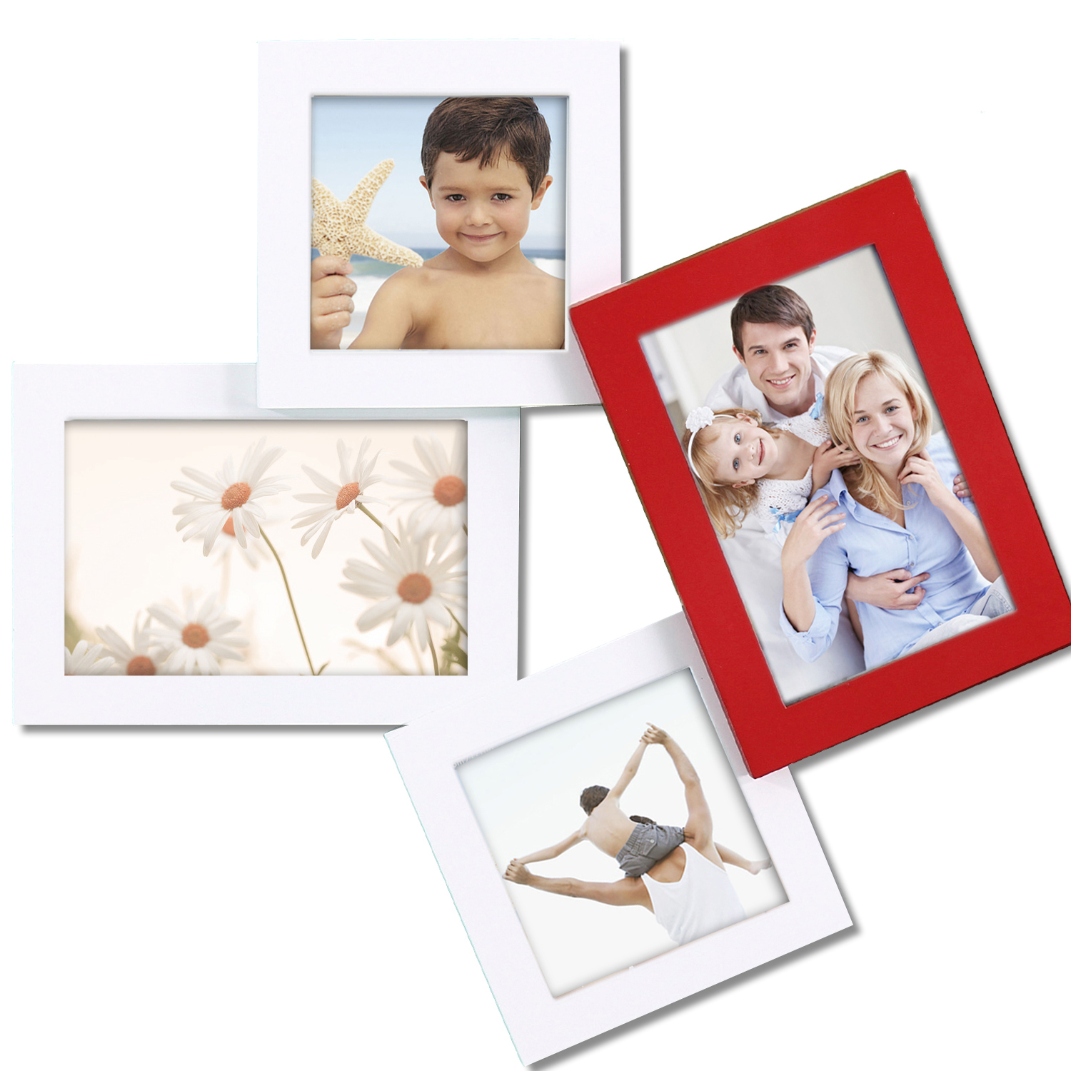 Adeco  PF0316  4-Opening Wood Wall Hanging Collage Photo Picture Frame - Holds Two 4x6 and Two 4x4 Inch Photos, White and Red at Sears.com