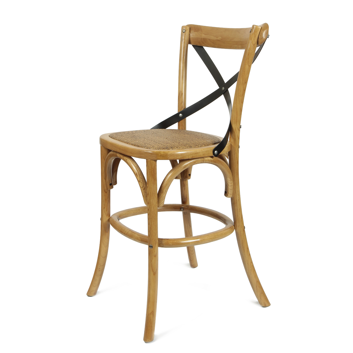 Adeco  CH0006  Elm Wood Rattan Antique Barstool Dining Chair, Home Decor at Sears.com