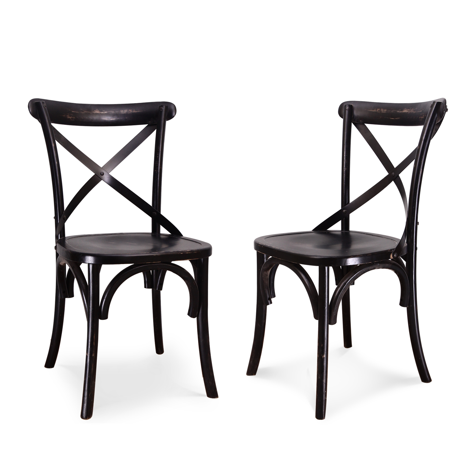 Adeco  CH0009  Elm Wood Rattan Antique Dining Chairs (Set of 2), Home Decor at Sears.com