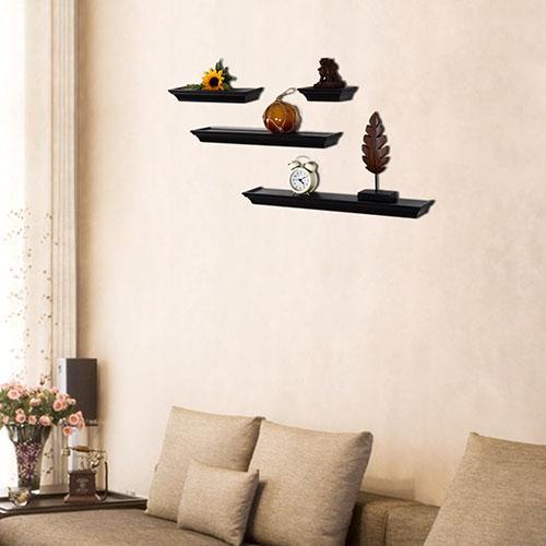 Adeco Black Wood 4-Piece Wall Shelves Decorative Horizontal Display Platform at Sears.com